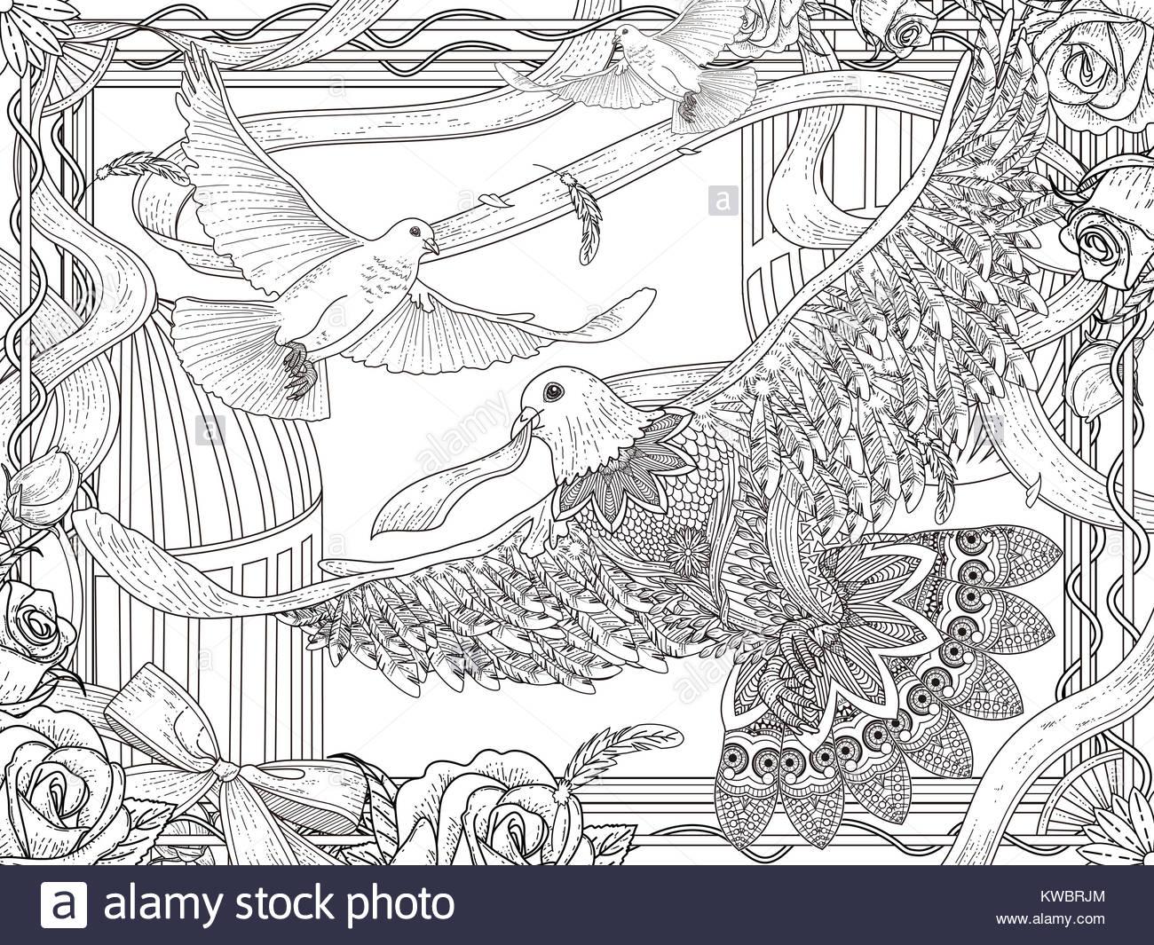Romantische weiße Tauben Malvorlagen mit Rosen und Band Stockfoto ...