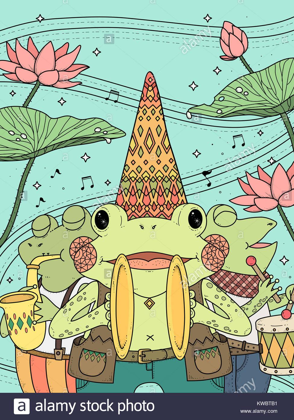 Cartoon Music Instruments Coloring Page Stockfotos & Cartoon Music ...