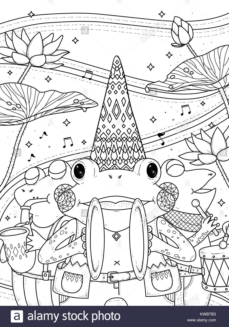 Cartoon Music Instruments Coloring Page Stockfotos & Cartoon Music ...