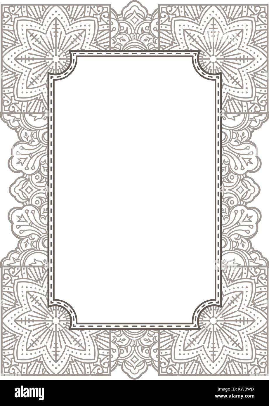 Florales Ornament Mehndi Henna Tattoo Vintage Banner Frame Karte