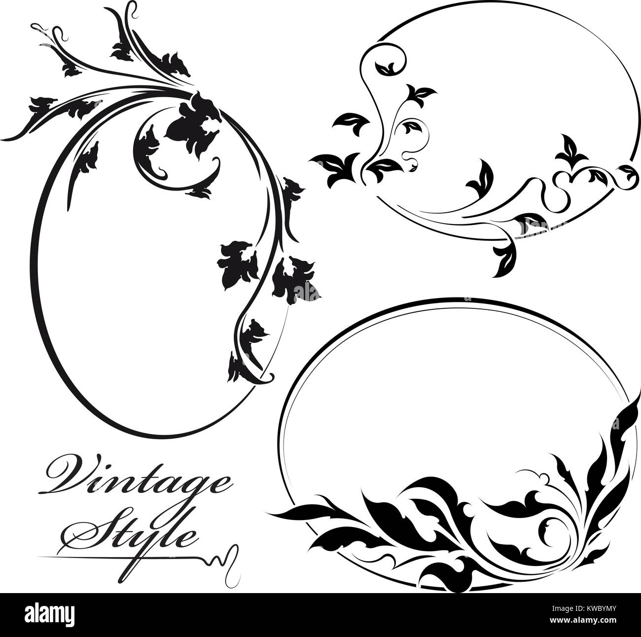 Satz von drei dekorative Blumen oval Vektor Rahmen Vektor Abbildung ...