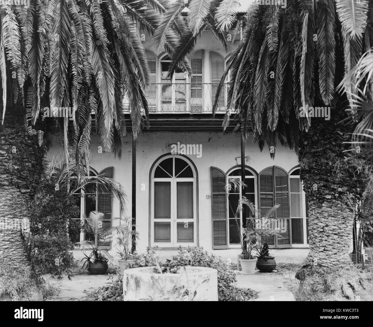 """Ernest Hemingways Haus in Key West, Florida, wo er lebte und schrieb in den 1930er Jahren. Es wird nun """"das Stockbild"""