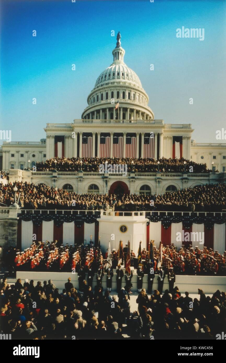 U.S. Capitol West Front während der Amtseinführung von Präsident William Clinton. Jan. 20, 1993. Stockbild