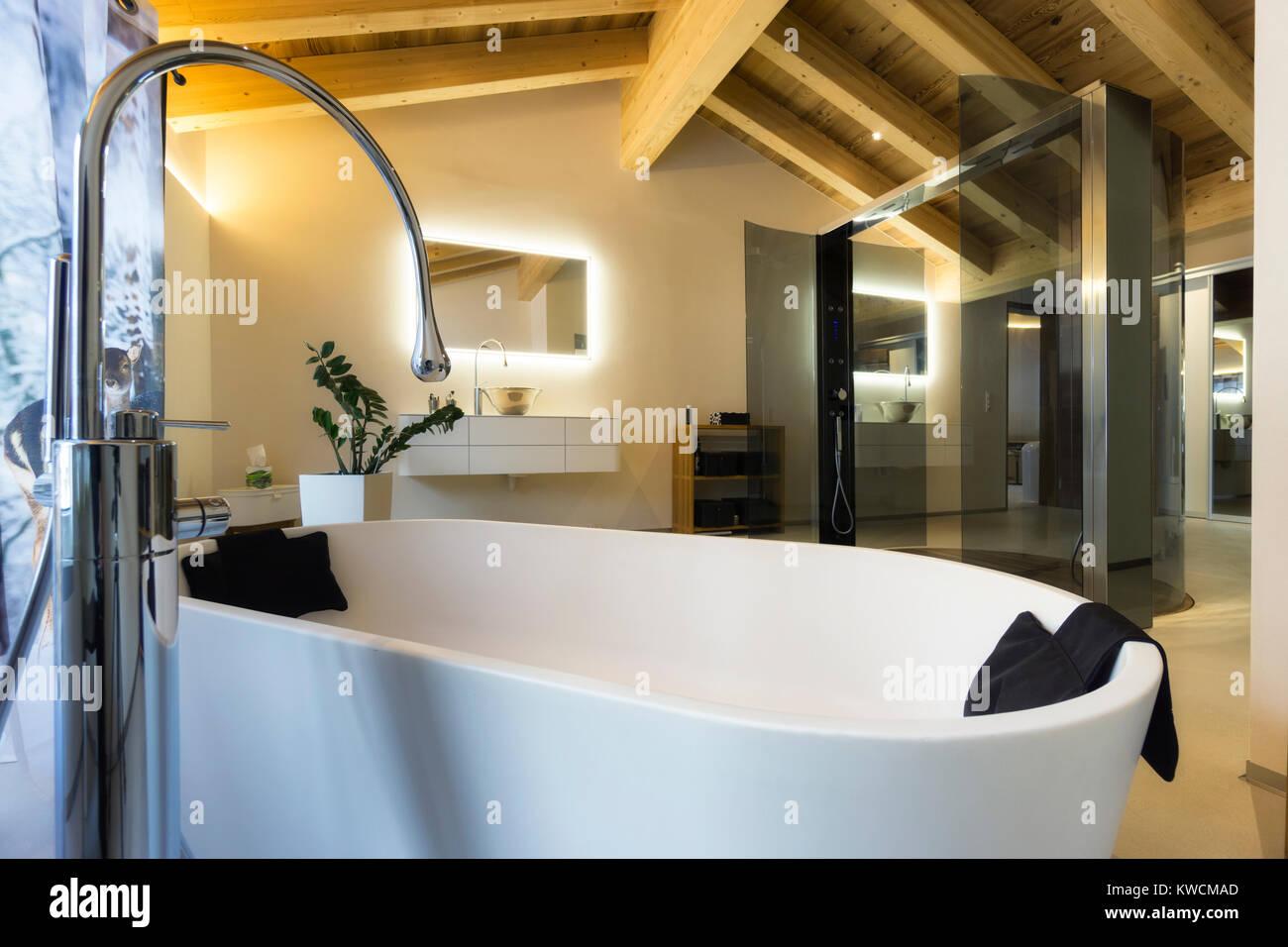 Luxuriöses Badezimmer mit Badewanne und Decke aus Holz Stockbild