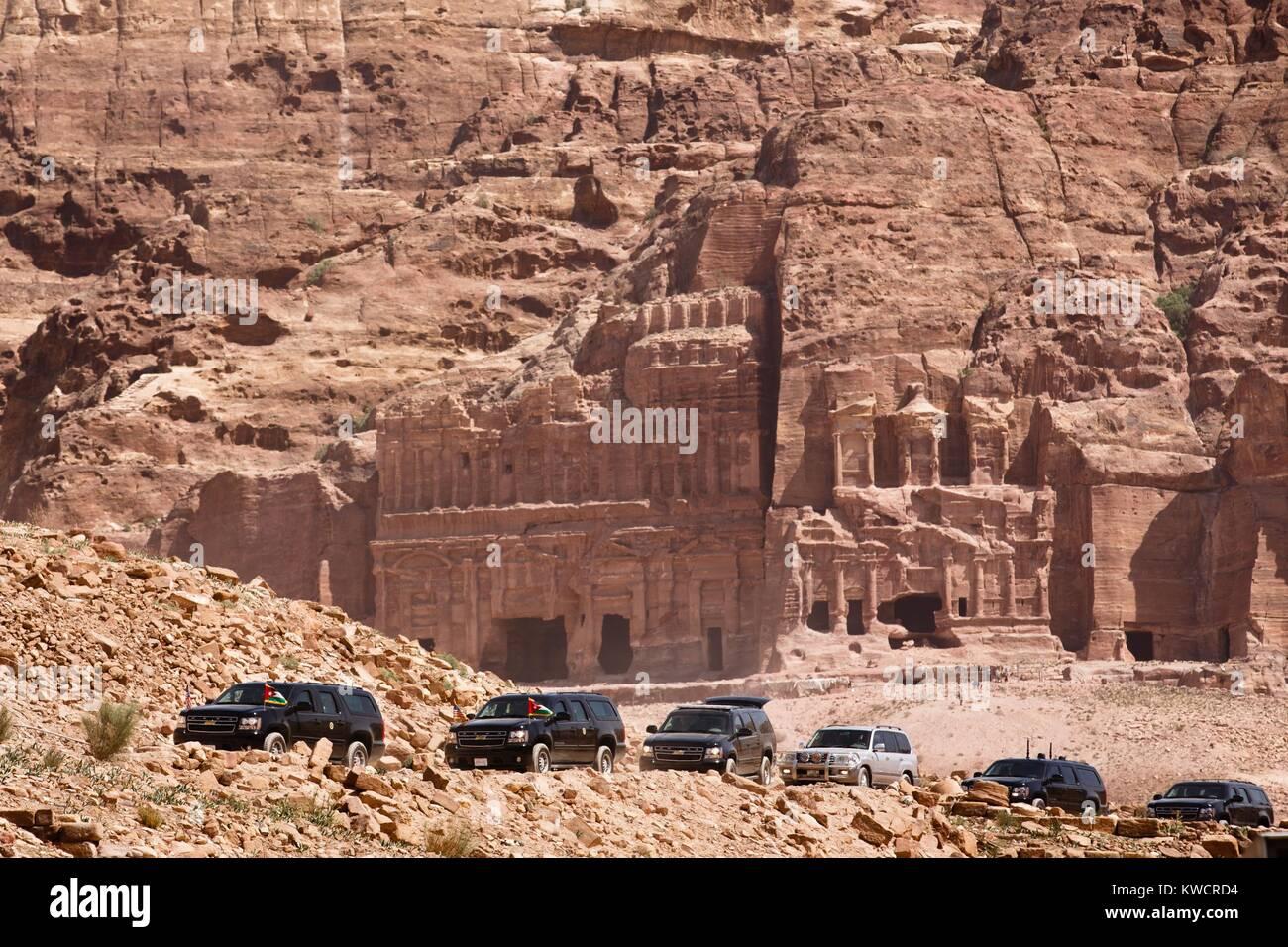 Präsident Barack Obama's motorcade in der antiken Stadt Petra in Jordanien. März 23, 2013. Möglicherweise Stockbild