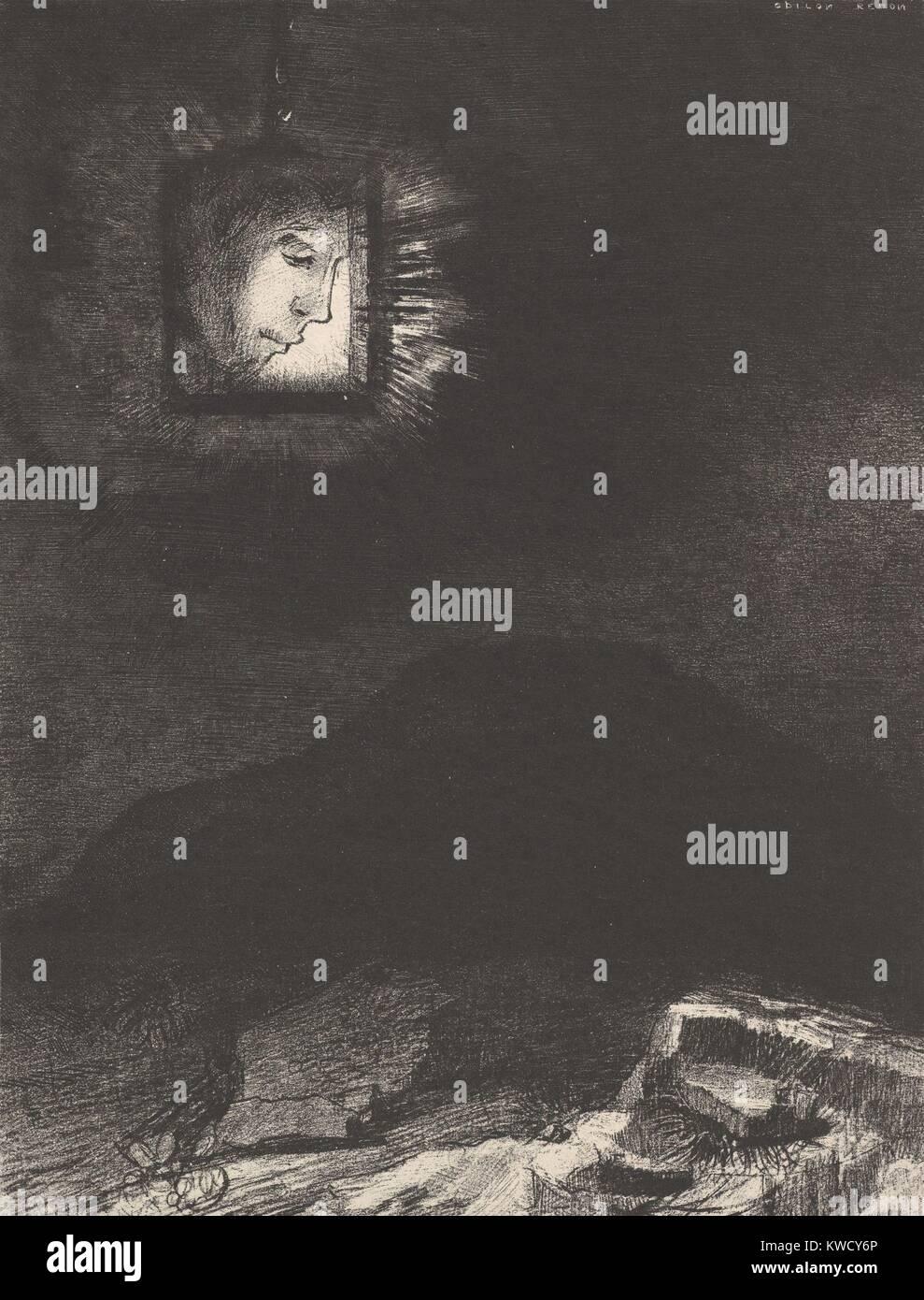 Die vage Schimmer von Kopf schweben im Raum, von Odilon Redon, 1891, der französische Symbolistische drucken. Stockbild
