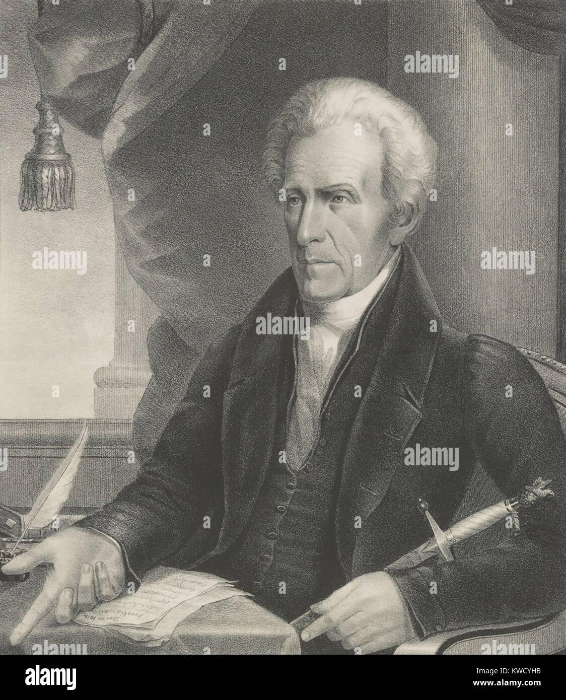 Präsident Andrew Jackson, 1833 Drucken von Ezra Bisbee (BSLOC_2017_6_13) Stockbild