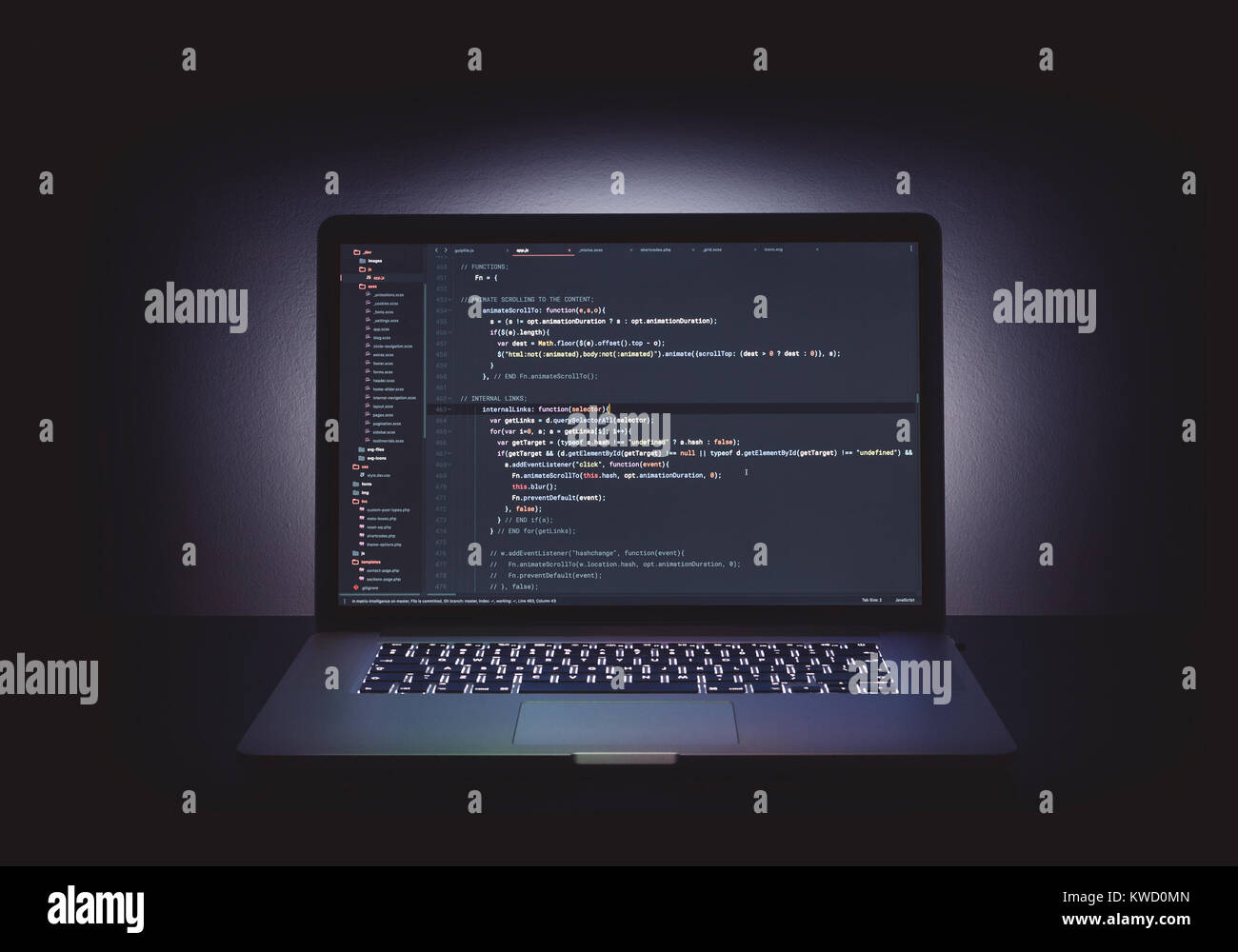 Code Editor auf apple macbook Vollbild Stockbild