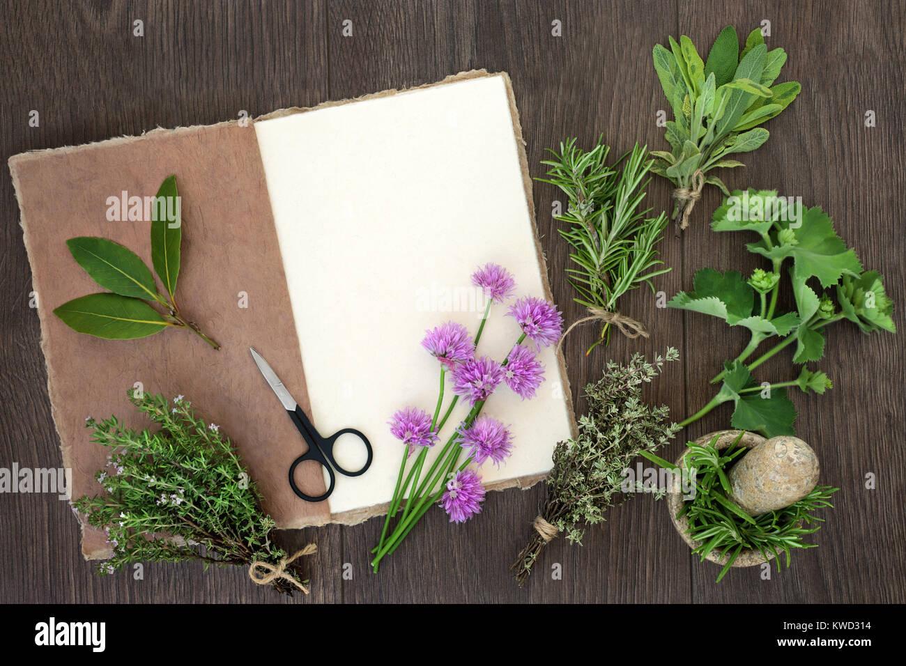 Frische Kräuter Zum Trocknen Mit Natürlichen Hanf Notizbuch Aus