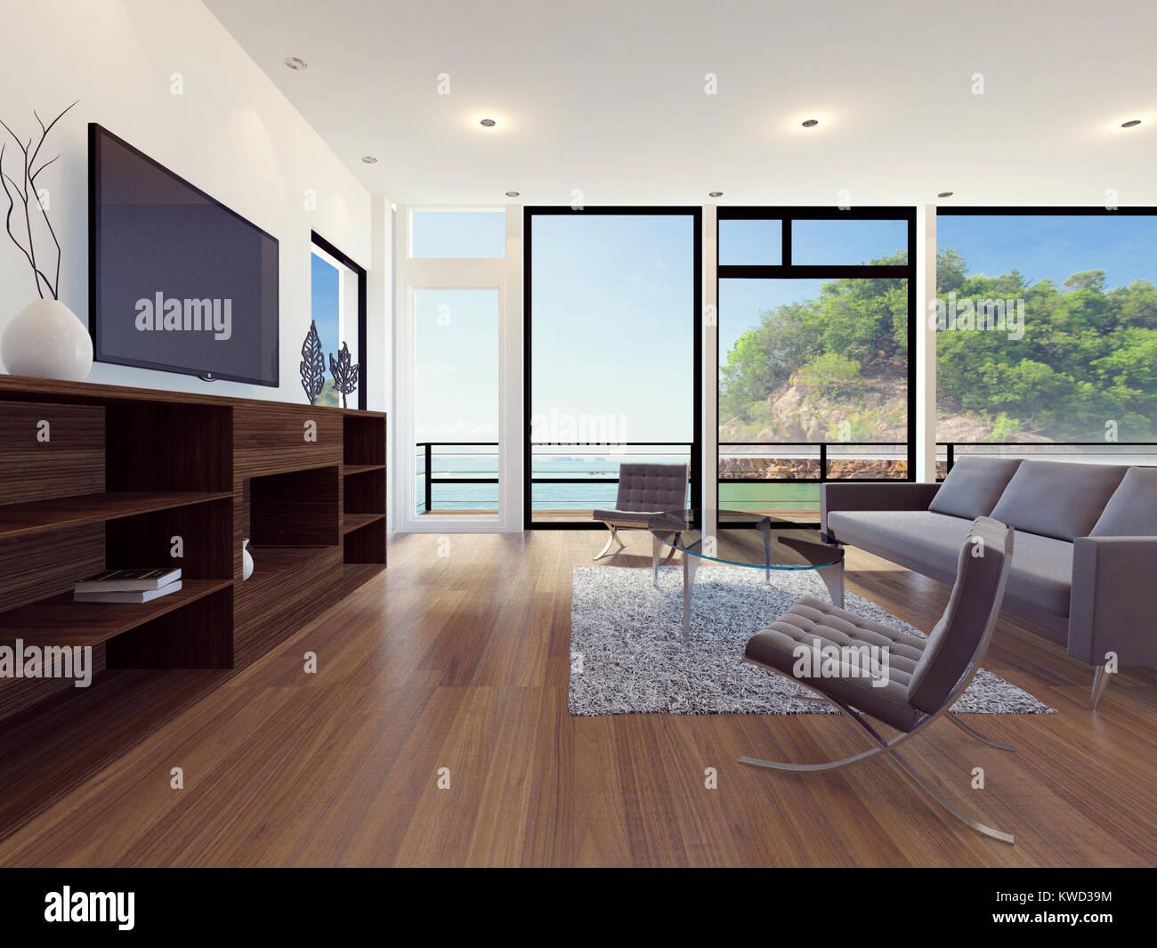 Moderne Wohnung Wohnzimmer mit Meerblick, 3D-Rendering ...