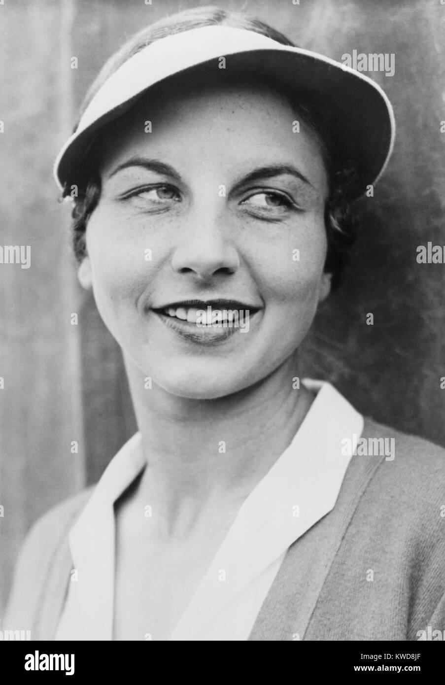 Helen Wills Moody 1931. Sie hielt die Top Position in Women's Tennis für insgesamt 9 Jahre: 1927-33, 1935 Stockbild