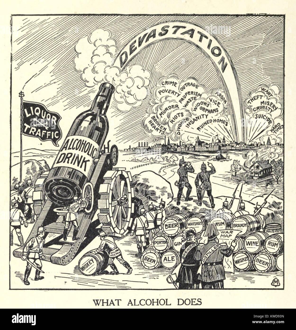 Was der Alkohol tut. Cartoon von Flasche auf einer Kanone caisson starten Verwüstung auf eine Gemeinschaft. Stockbild