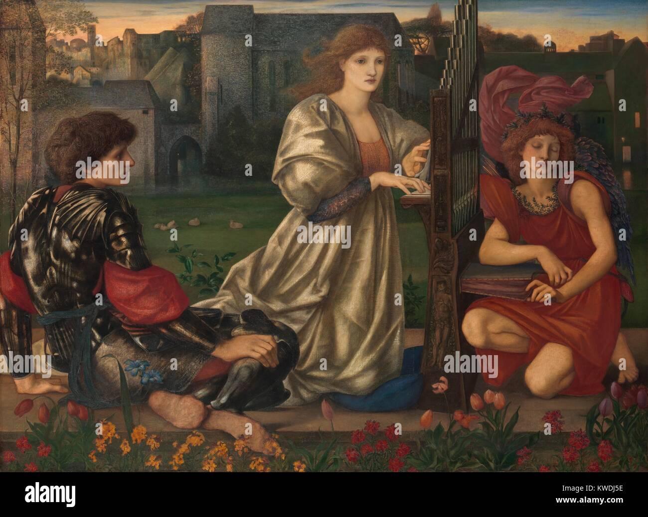 Die LOVE SONG, von Sir Edward Burne-Jones, 1868-77, britischen Malerei, Öl auf Leinwand. In der Mitte, eine Stockbild