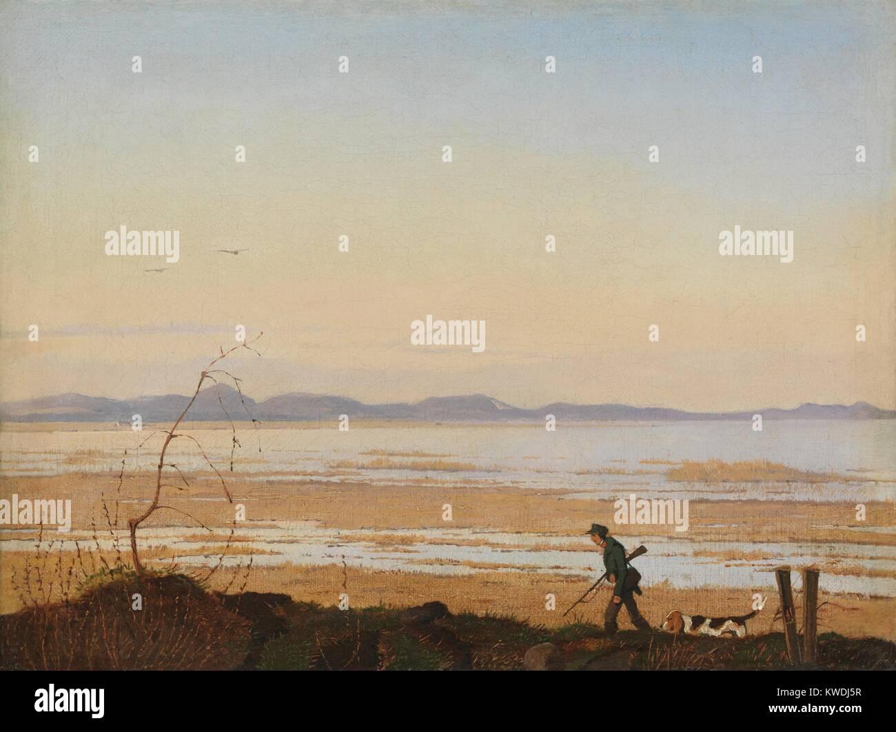 Ein Abend am See ARRESO, von Johan Thomas Lundbye, 1837, der Dänischen Malerei, Öl auf Leinwand. Landschaft Stockbild