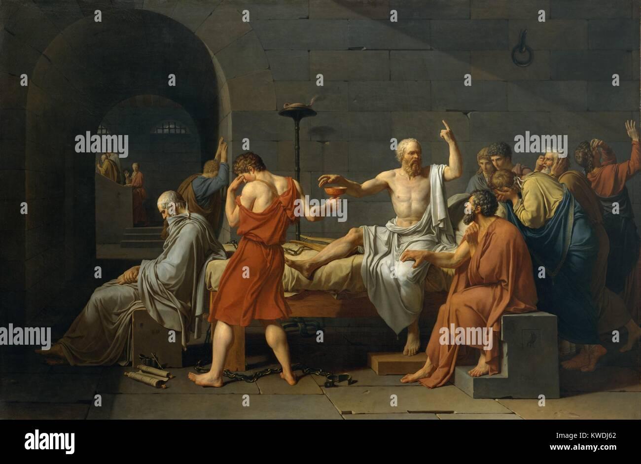 Der Tod des Sokrates, von Jacques Louis David, 1787, Französisch neoklassischen Malerei, Öl auf Leinwand. Stockbild