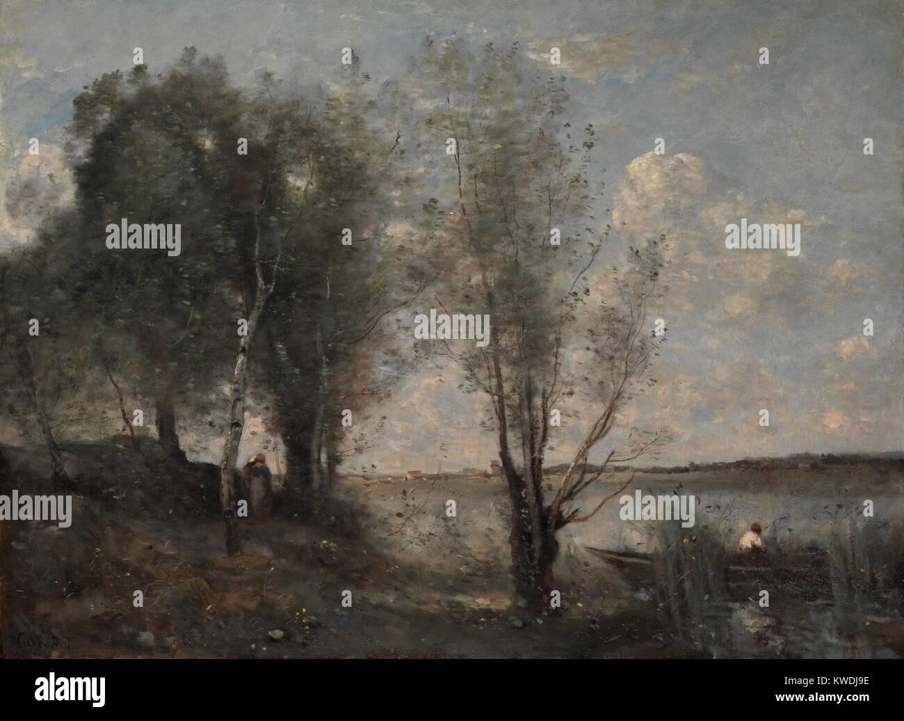 Fährmann in das Schilf, von Camille Corot, 1865, Französische Malerei, Öl auf Leinwand. Wie viele Stockbild