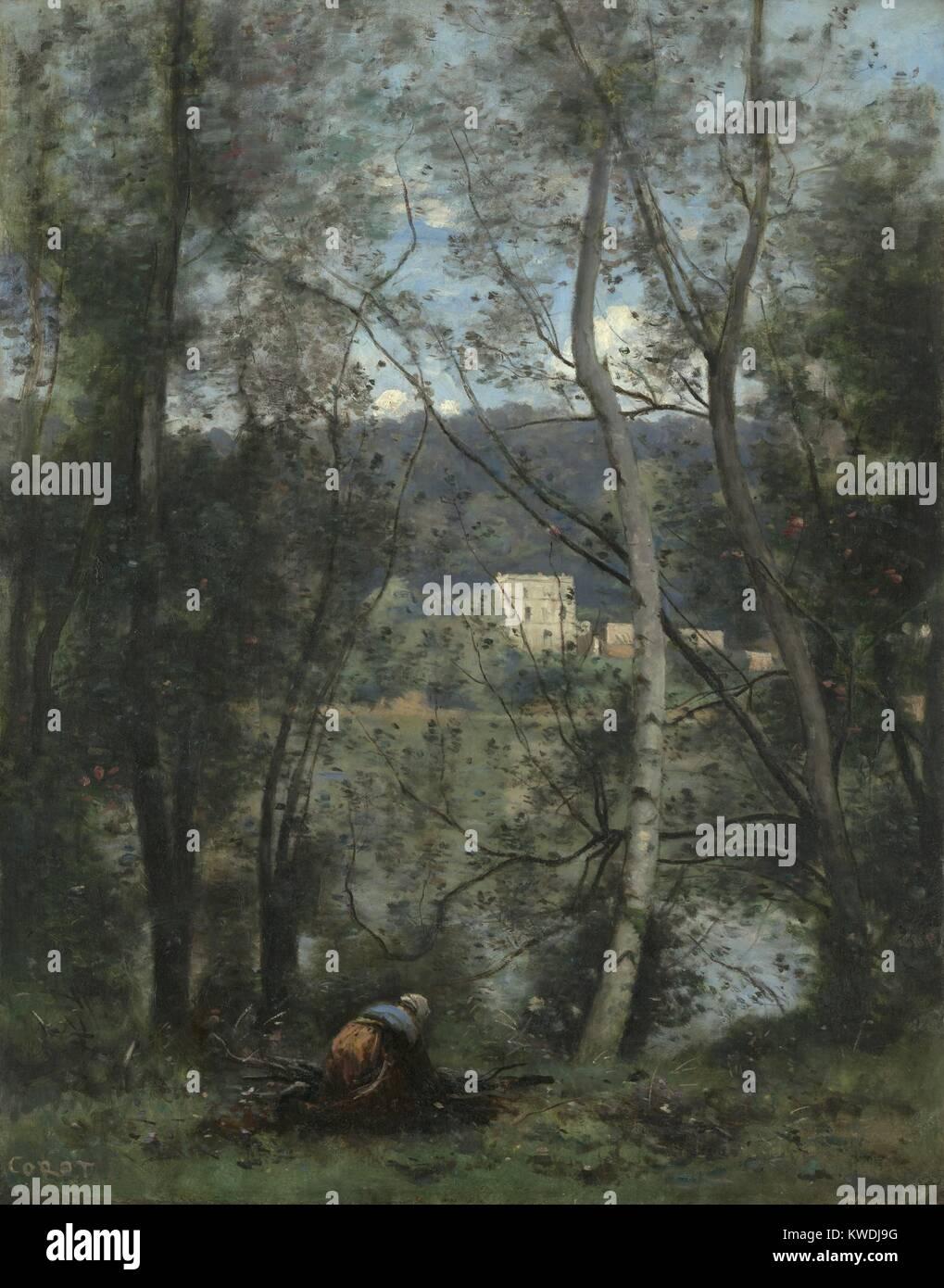 Eine FRAU SAMMELN REISIGBÜNDELN IN VILLE-DAVRAY, von Camille Corot, 1871-74, französische Öl Malerei. Stockbild