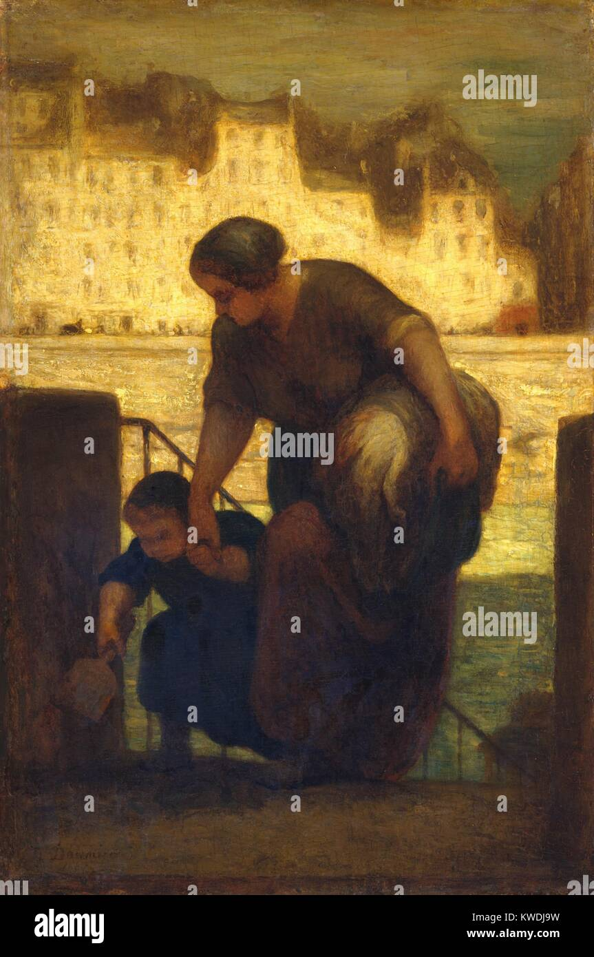 Die WASCHFRAU, von Honore Daumier 1863, Französische Malerei, Öl auf Holz. Die Einstellung dieses Gemälde Stockbild