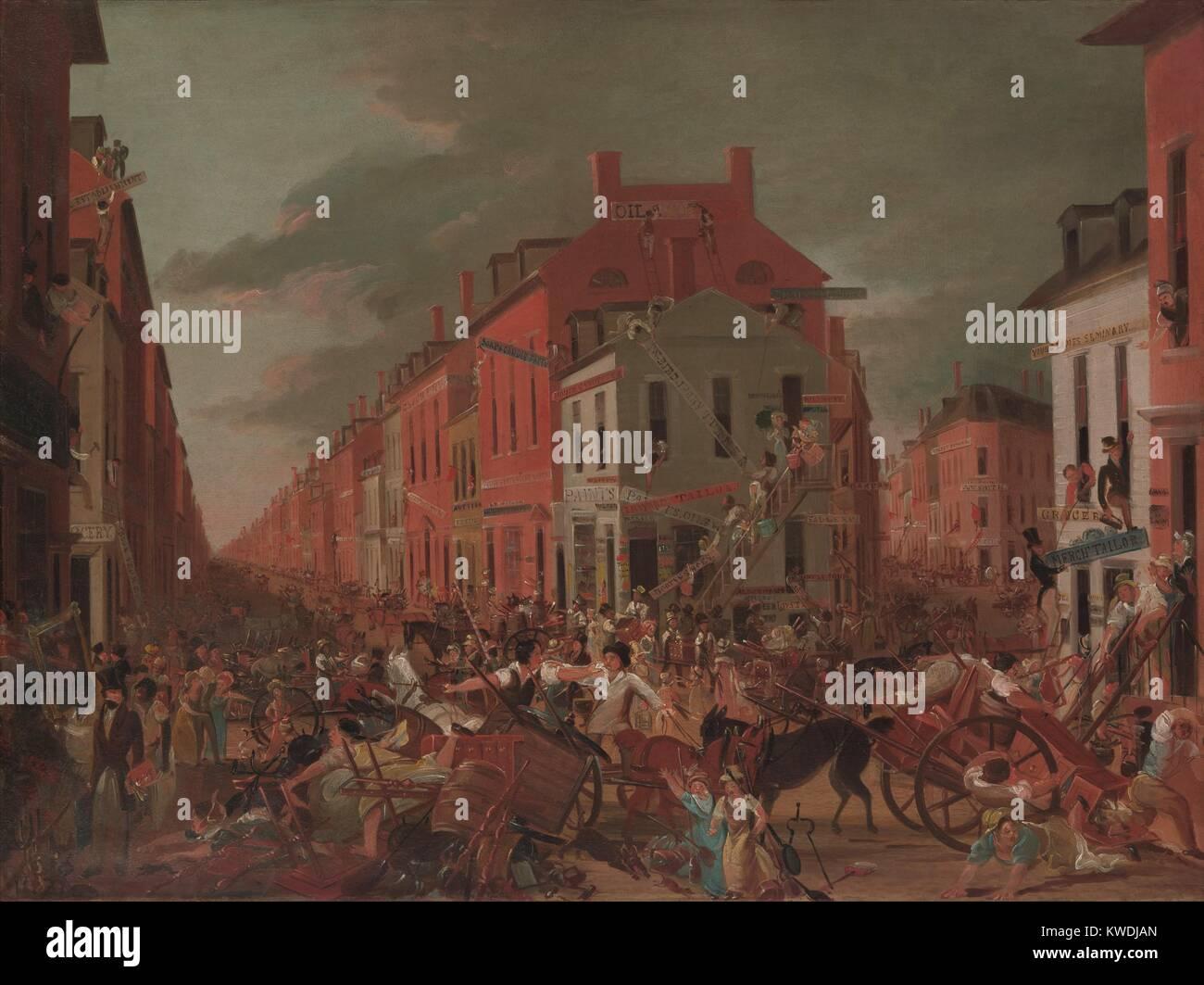Beweglicher TAG IM ALTEN NEW YORK, von unbekannter Künstler, 1827, Amerikanische Malerei, Öl auf Holz. Stockbild