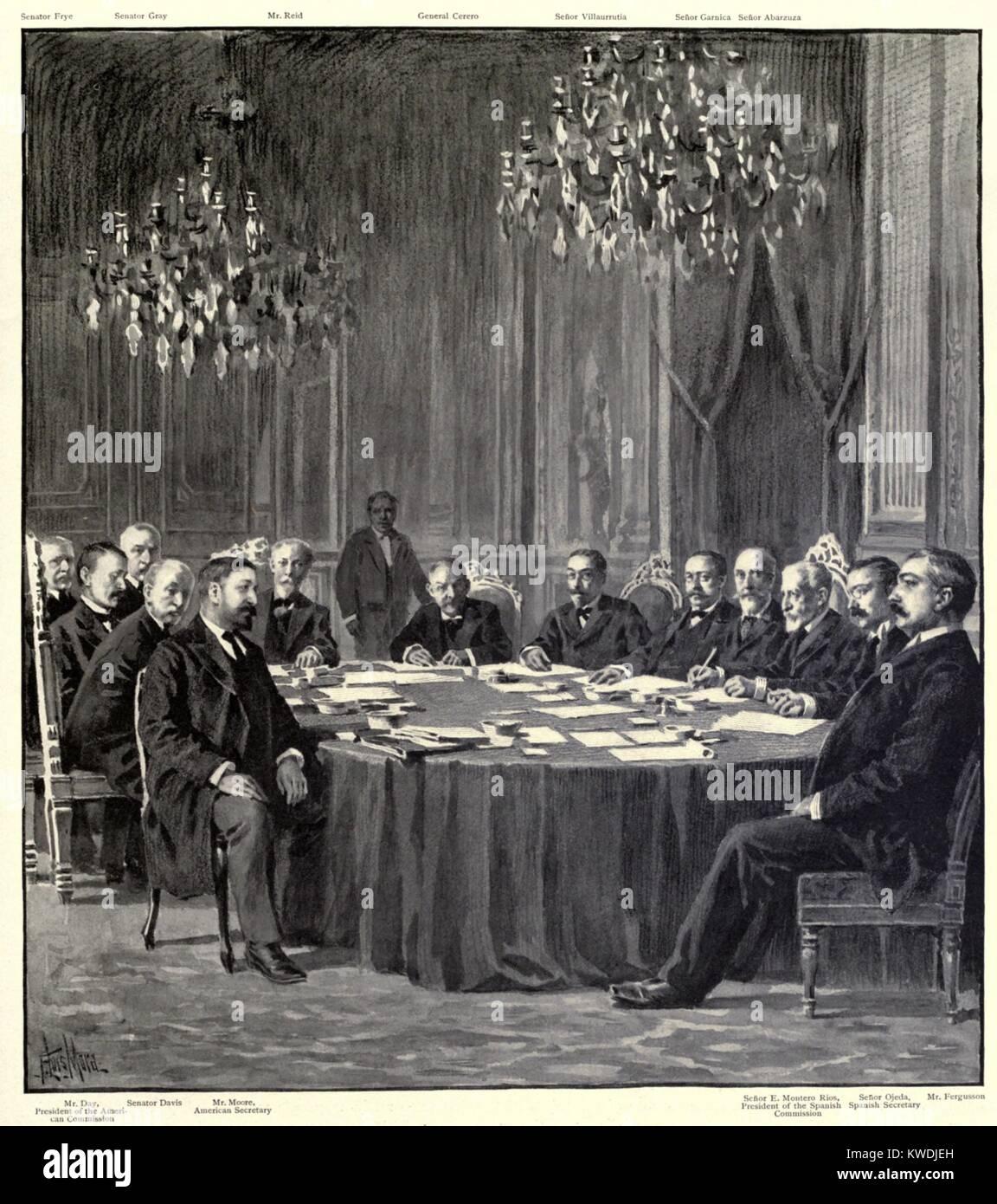 Frieden Kommissare nach Abschluss der Vertrag von Paris, der spanisch-amerikanische Krieg zu stoppen. Dez. 10, 1898. Stockbild
