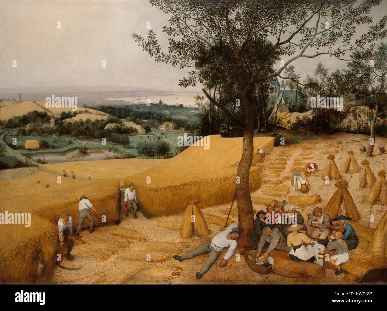 Landschaftsmalerei renaissance  Die Erntemaschinen, von Pieter Brueghel der Ältere, 1565 ...