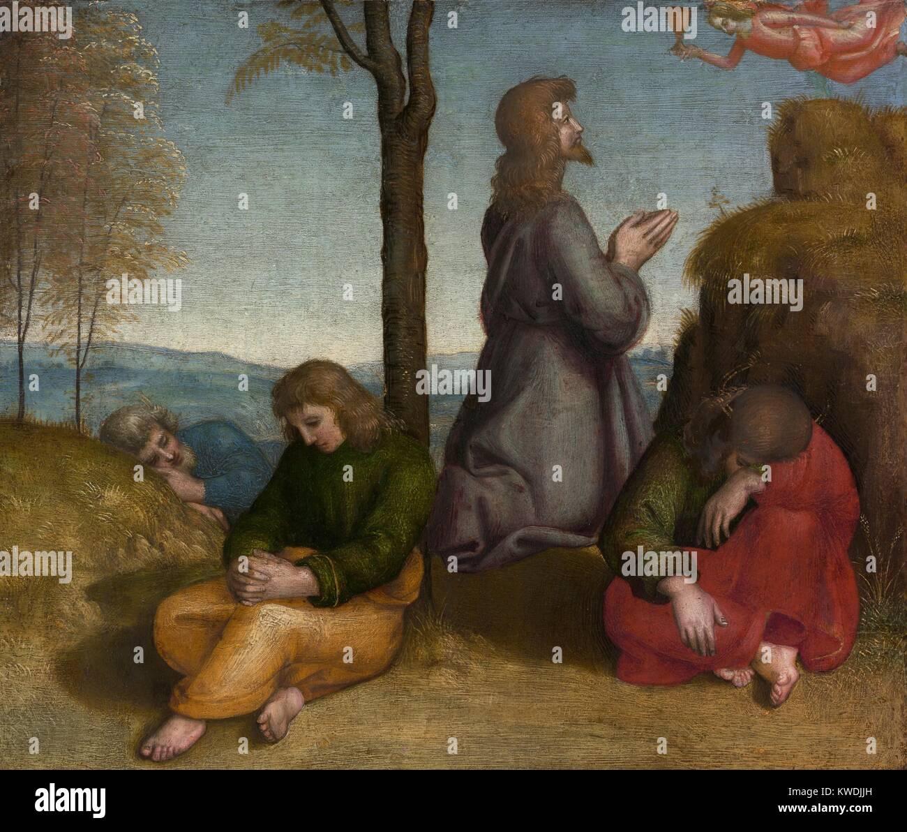 Die todesangst IM GARTEN, von Raffael, 1505-20, italienische Renaissance Malerei, Öl auf Holz. Christus ist Stockbild