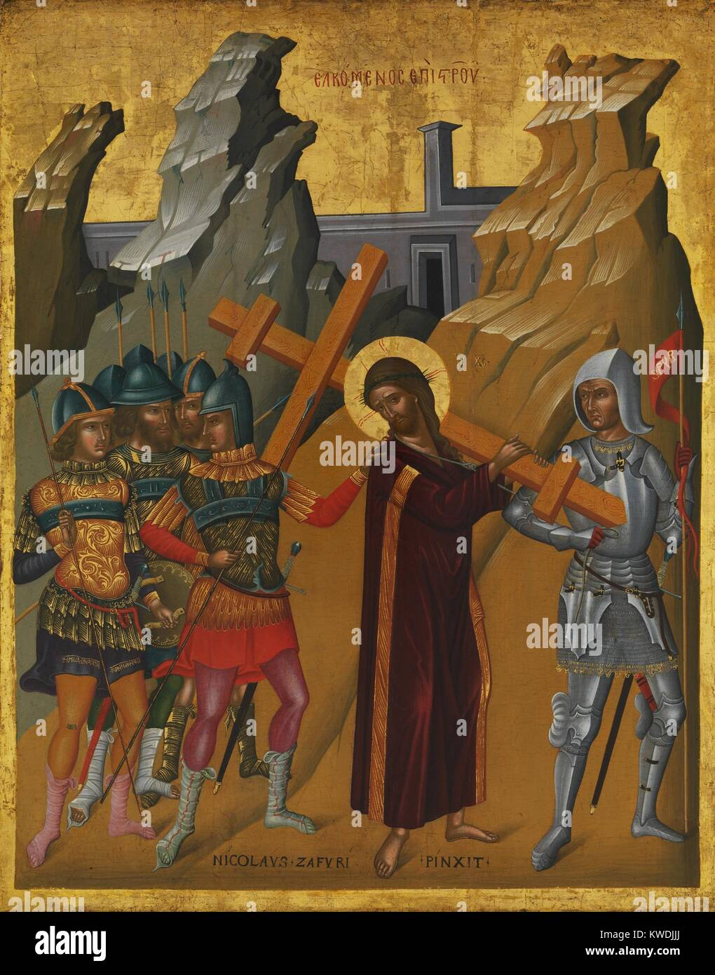Christus mit dem Kreuz, durch Nikolaos Tzafouris, 1475-99, byzantinischen, kretische Öl Malerei. Von Soldaten Stockbild