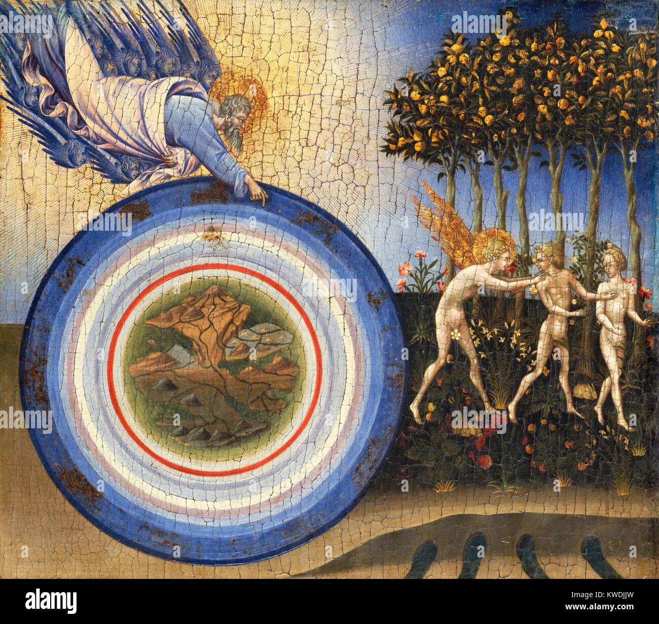 Erschaffung der Welt und der Vertreibung aus dem Paradies, von Giovanni di Paolo, 1445, Renaissance Malerei. Das Stockbild