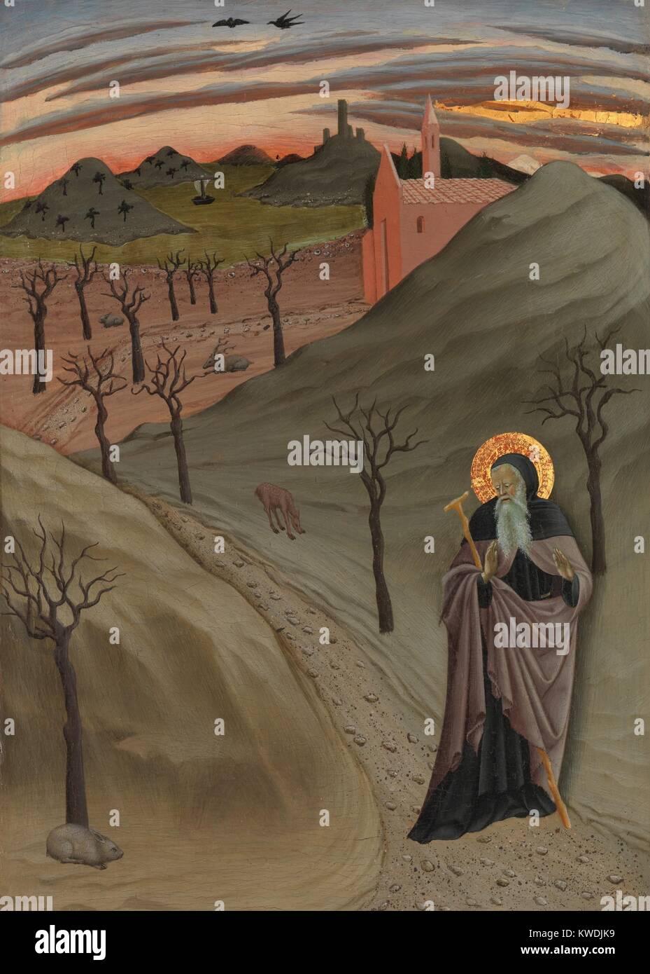 Der heilige Antonius IN DER WÜSTE, von osservanza Master, 1435, Italienische Renaissance Malerei. Der Eremit Stockbild