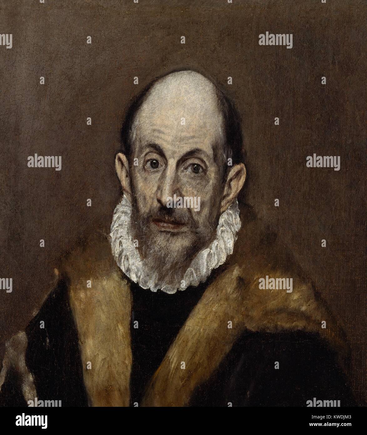 Porträt eines alten Mannes, von El Greco, 1595-1600, Spanisch Renaissance Malerei, Öl auf Leinwand. El Stockbild
