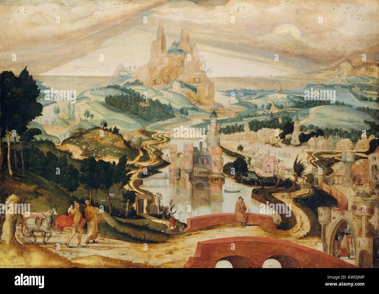 Die ANKUNFT IN BETHLEHEM, von Meister LC, 1540, Niederländischen, Northern Renaissance Öl Malerei. Drei Stockbild