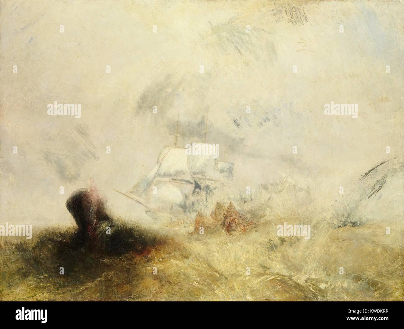 Walfänger, von Joseph Mallord William Turner, 1845, British Malerei, Öl auf Leinwand. Turner umhüllt Stockbild