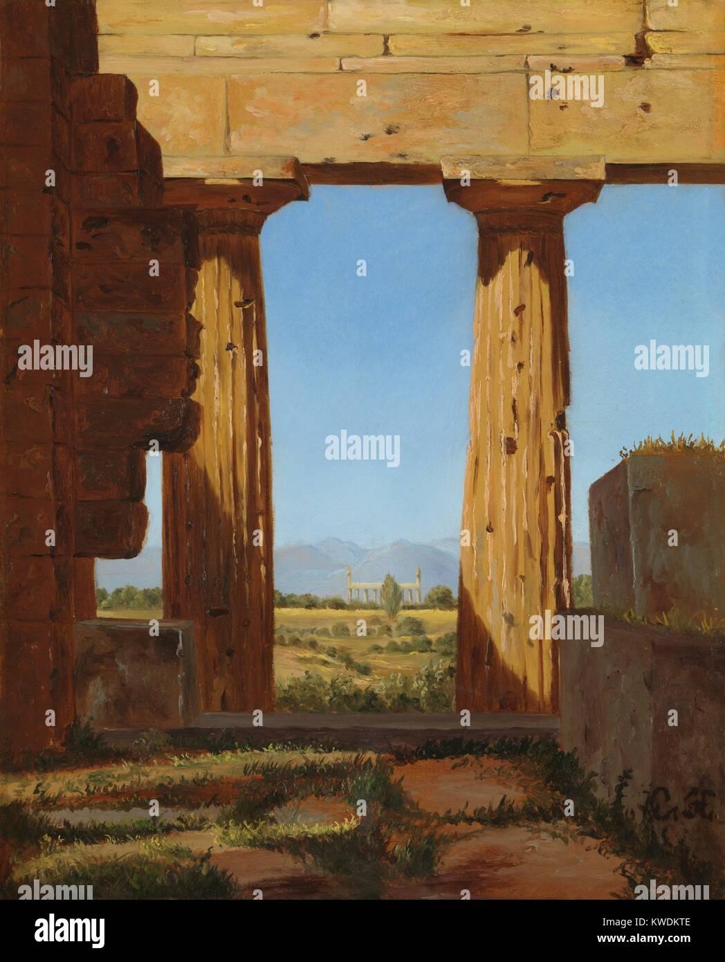 Spalten DER TEMPEL DES NEPTURE in Paestum, von Constantin Hansen, 1838, Dänisch Öl Malerei. Hansen gemalt Stockbild