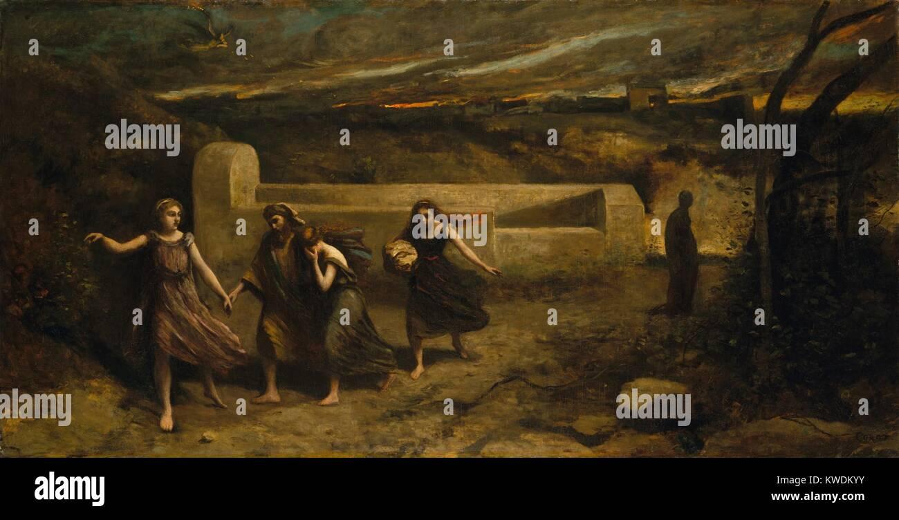 Die Verbrennung von Sodom, von Camille Corot, 1843-57, Französische Malerei, Öl auf Leinwand. Dies wurde Stockbild