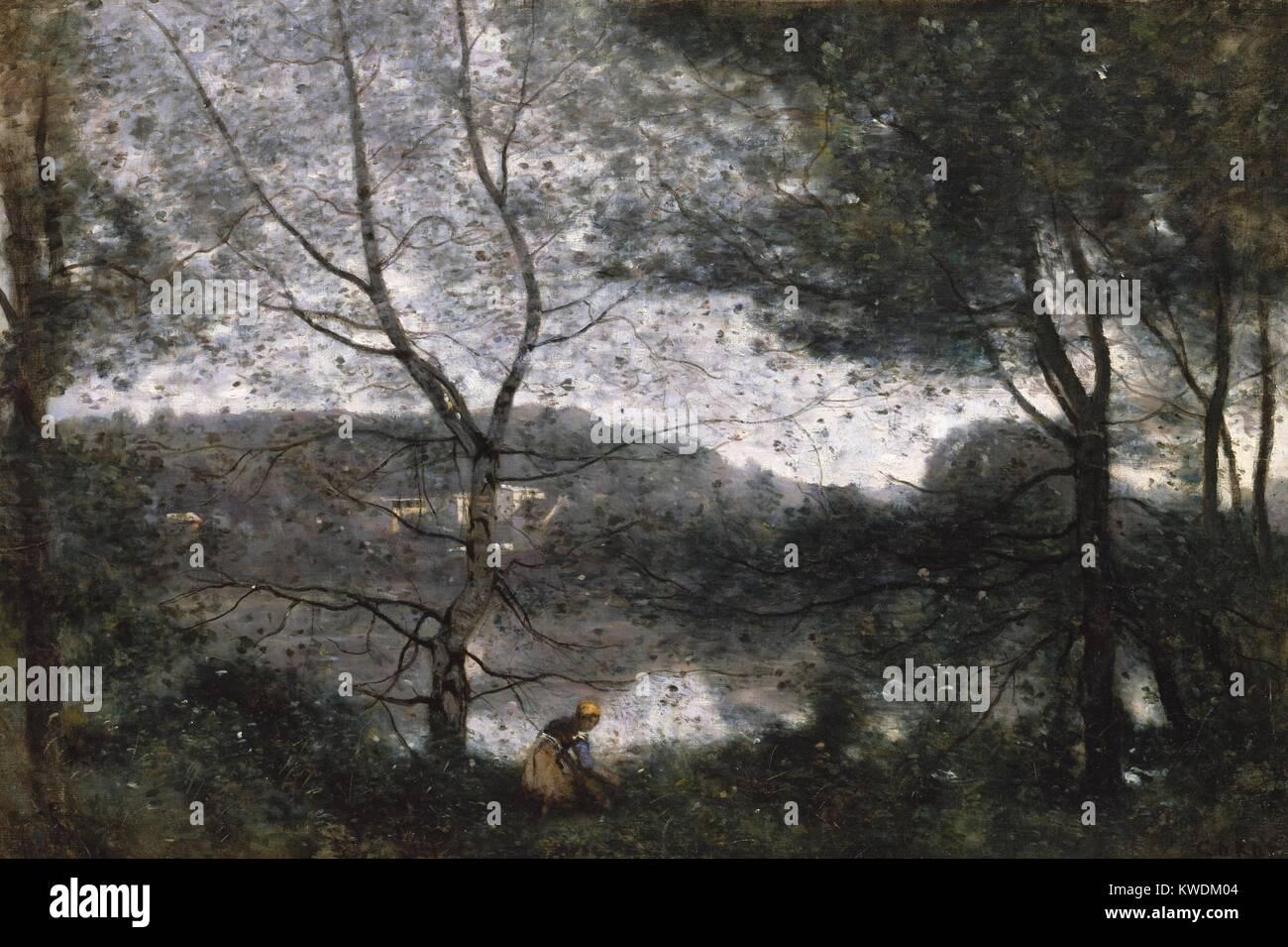 VILLE-DAVRAY, von Camille Corot, 1870, Französische Malerei, Öl auf Leinwand. Dies wird gemalt, auf dem Stockbild