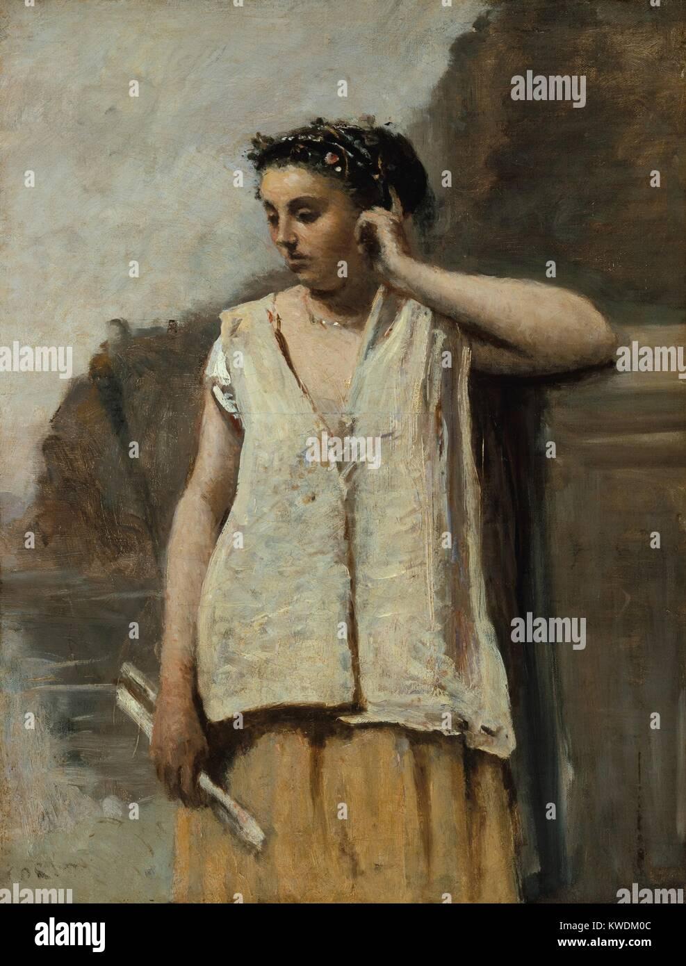 Der MUSE: Geschichte, von Camille Corot, 1865, Französische Malerei, Öl auf Leinwand. Die naturalistische Stockbild