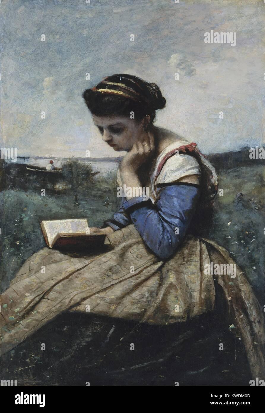 Eine Frau lesen, von Camille Corot, 1869-70, Französische Malerei, Öl auf Leinwand. Dies war die erste Stockbild