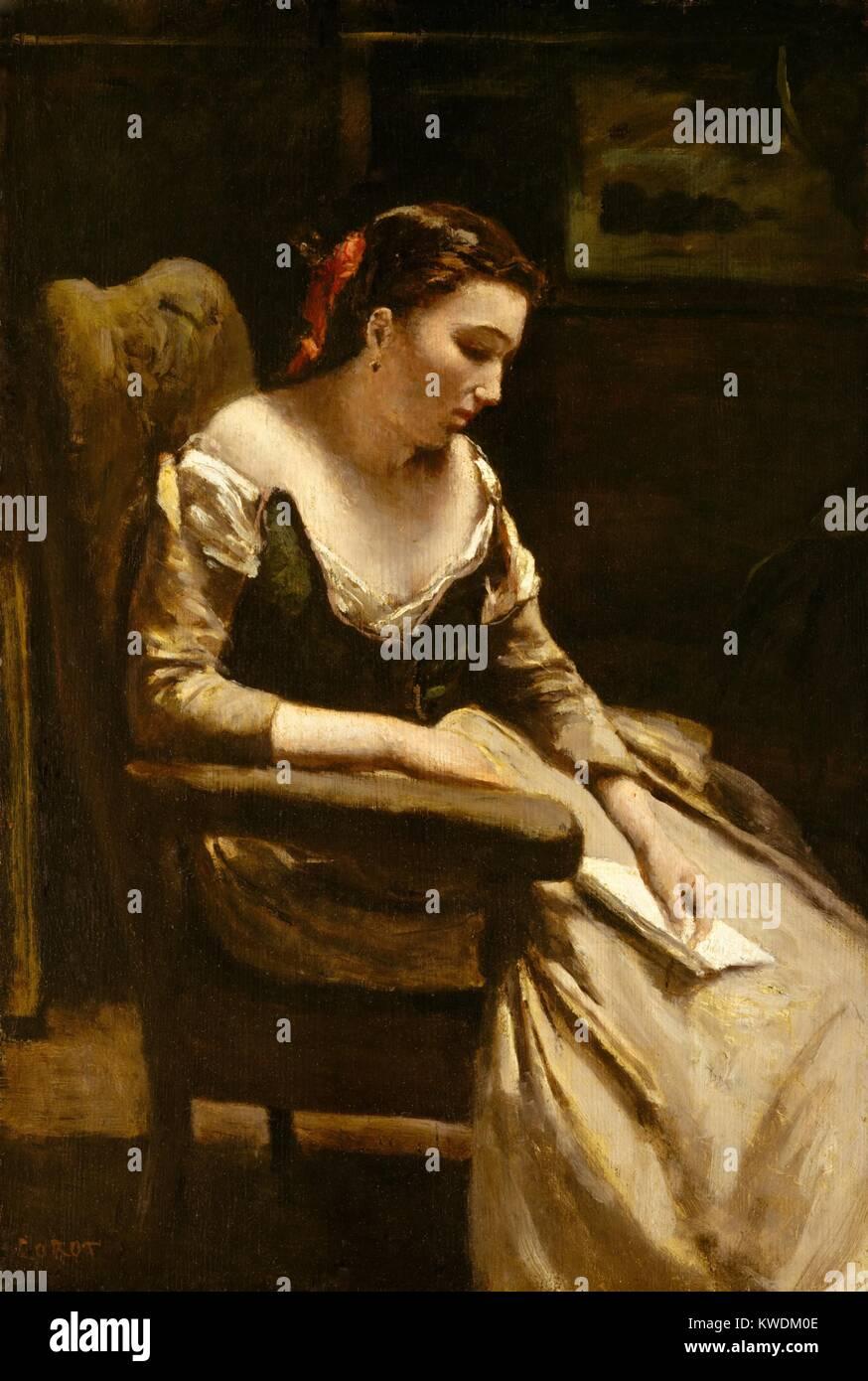 Der Brief, der von Camille Corot, 1865, Französische Malerei, Öl auf Holz. Corot malte diese Abbildung Stockbild