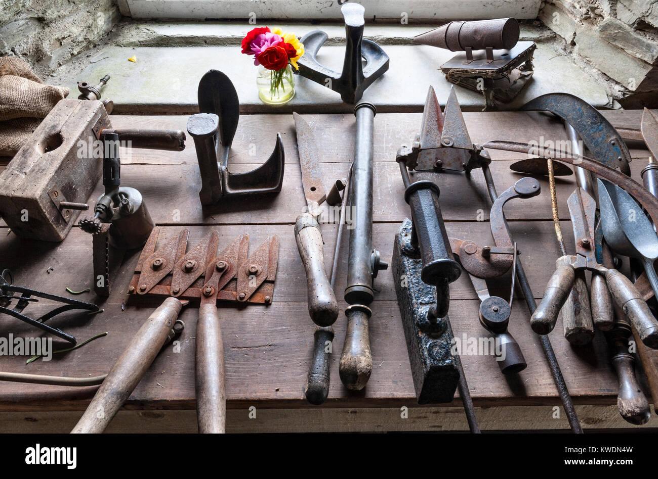 Die Lost Gardens of Heligan, Cornwall, UK. Antike Garten Werkzeuge in einem der alten Gartenhäuser Stockbild