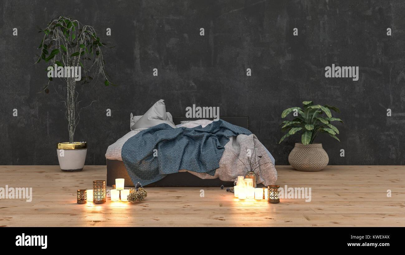 Rumpled ungemachten Bett in einem gemütlichen romantisches ...