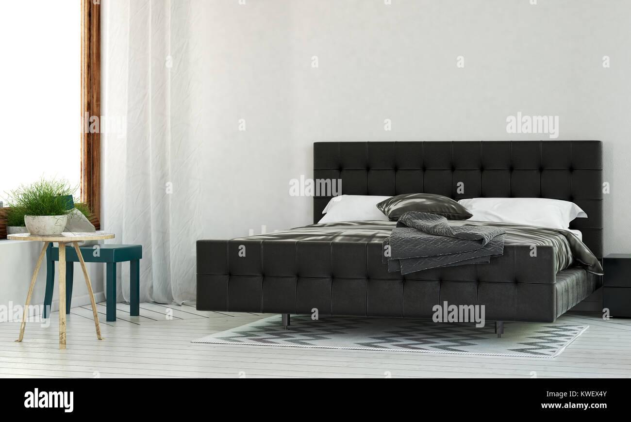Schlafzimmer Im Minimalistischen Design In Schwarz Mit King