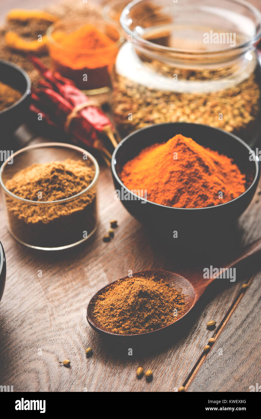 Indische bunten Gewürzen. Gruppenfoto der vier grundlegenden indischen Gewürzen wie rohe rote Chili, Kurkuma, Stockbild