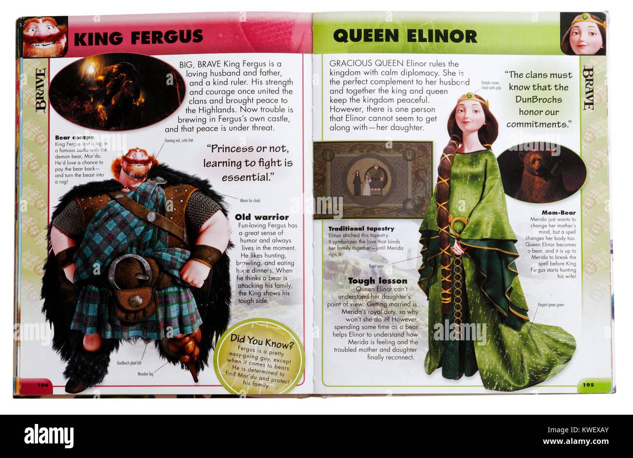 Pixar zeichen König Fergus und Queen Elinor aus dem Film mutig in einem Pixar Charakter Guide Stockbild