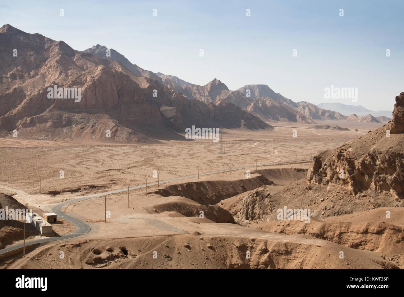 Blick über die Bafgh Wüste in der Nähe der antiken Stadt Yazd im Iran von Chak Chak, die Zoroastrischen Stockbild