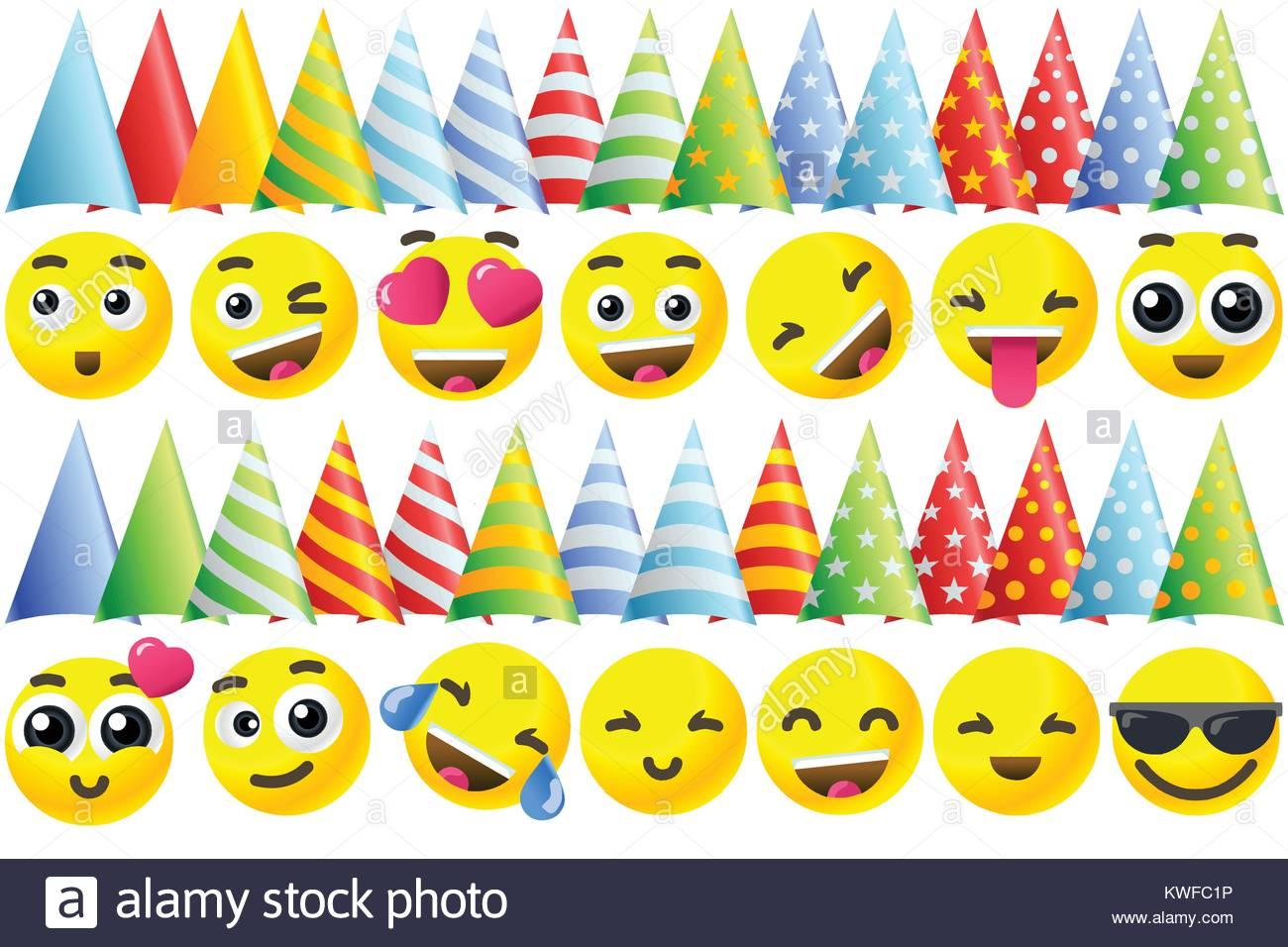 Happy Birthday Hintergrund 3d Banner Mit Emoji Icon Set Vektor