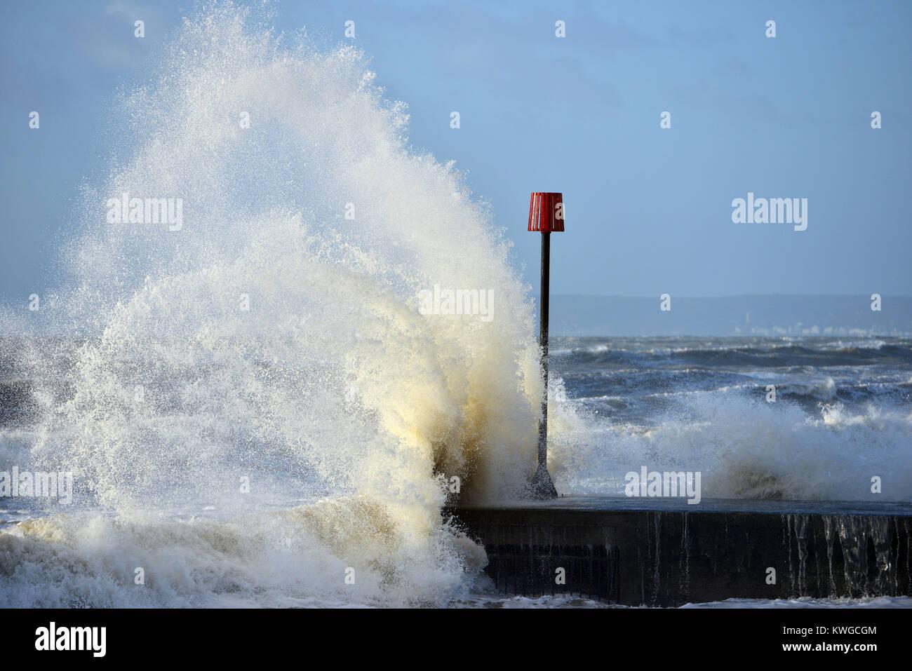 Bexhill East Sussex 3 Januar 2018 Sturm Eleanor Bringt Starke