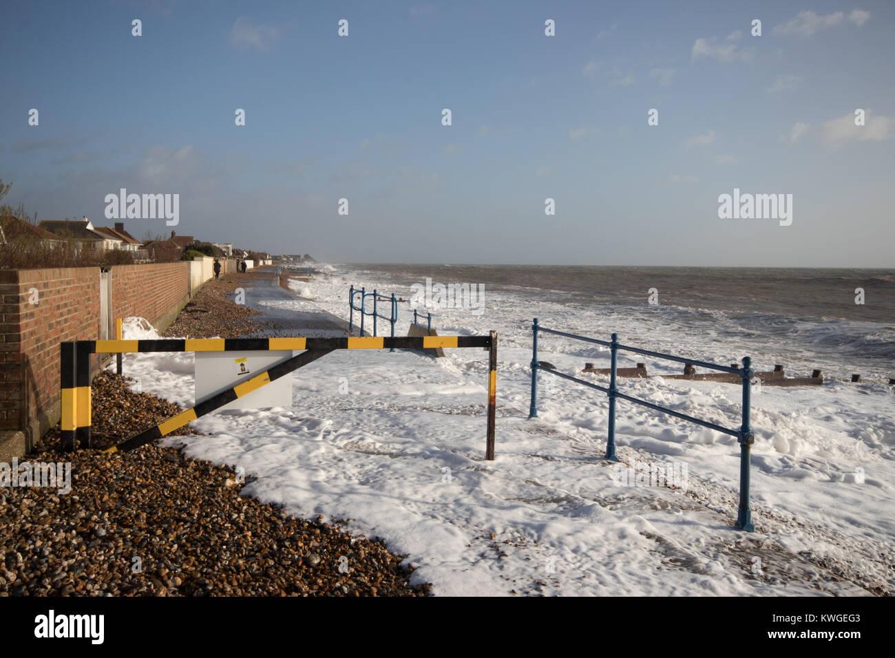 Felpham Uk 3 Januar 2018 Sturm Eleanor Strandpromenade Im