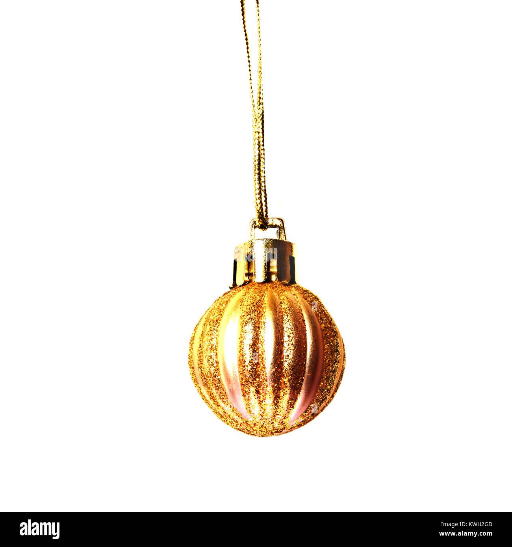 Goldene Weihnachten Dekor kleine Kugel mit funkelt auf weißem ...