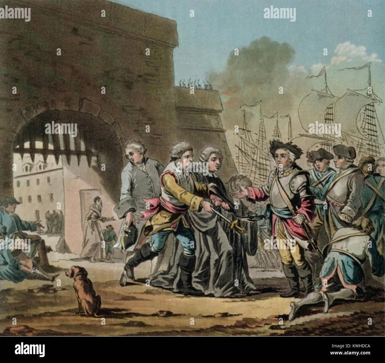 Kapitulation der Stadt Madras 1746 Die erste Carnatic Kriege (1746 - 1748) war der indische Theater im Österreichischen Stockbild
