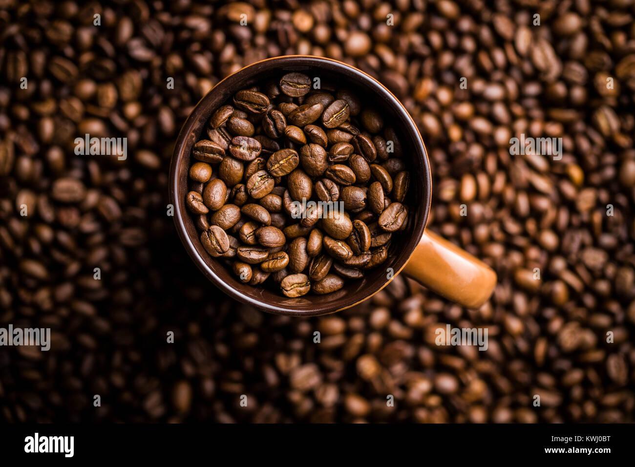 Geröstete Kaffeebohnen in der Tasse. Stockbild